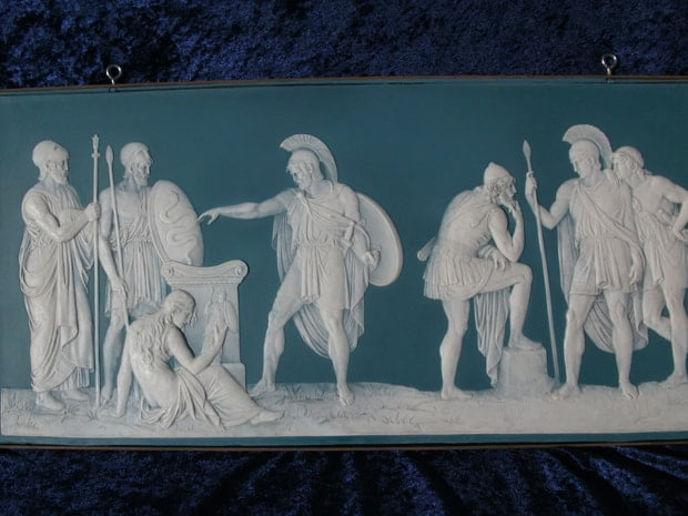 frieze repaired by Karen Dean / ceramic restoration studios