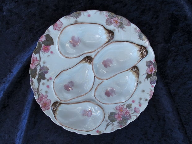 oyster platter repaired by Karen Dean / ceramic restoration studios