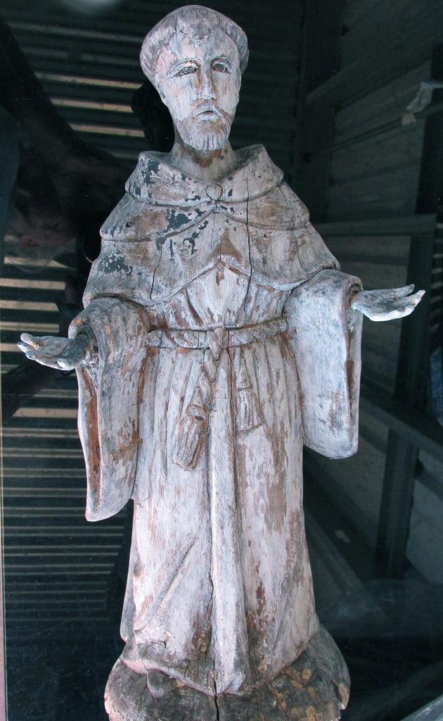 wooden sculpture of St Frances