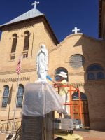 Old Mesilla church statue restoration